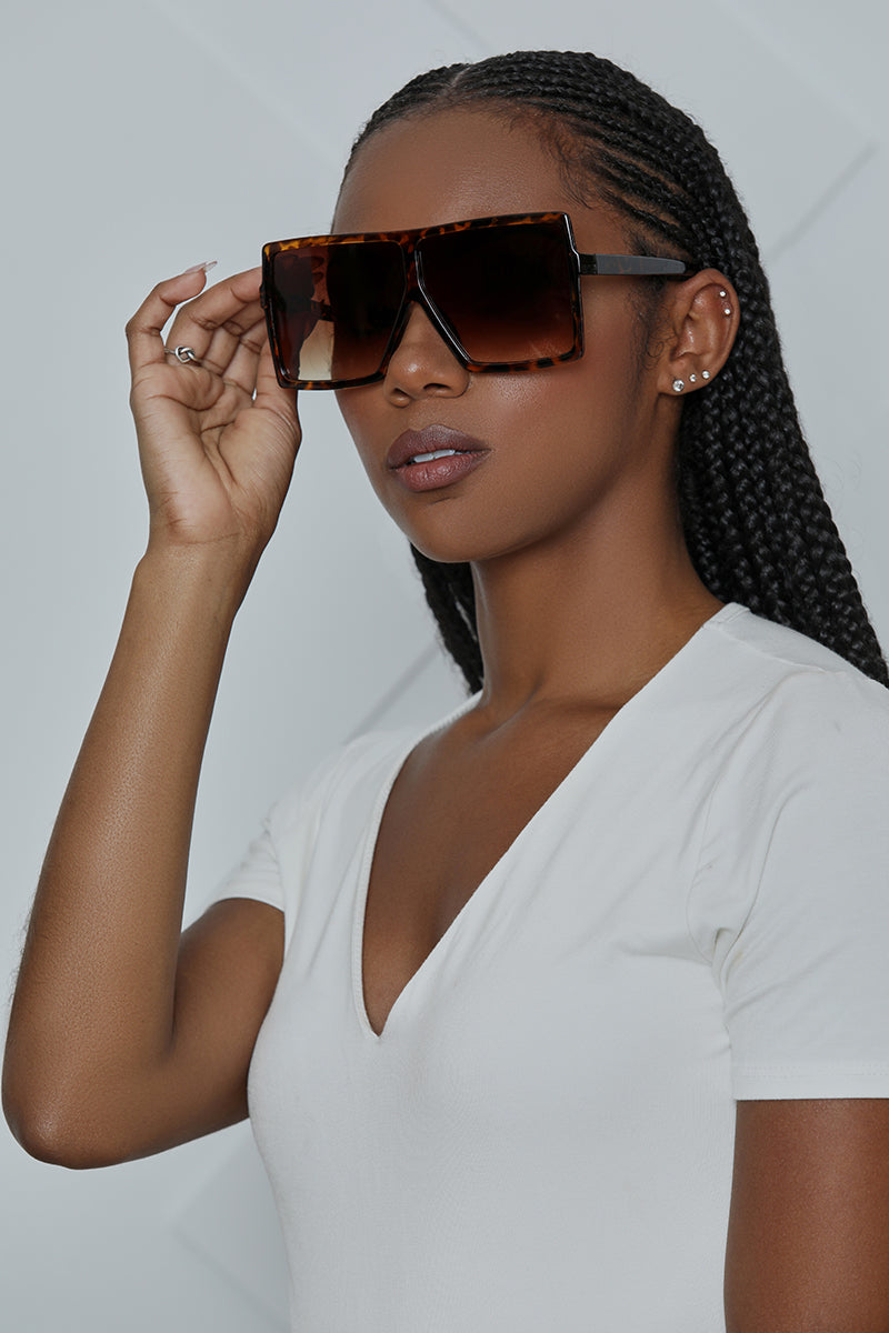 Square Oversized Sunglasses (Tortise)