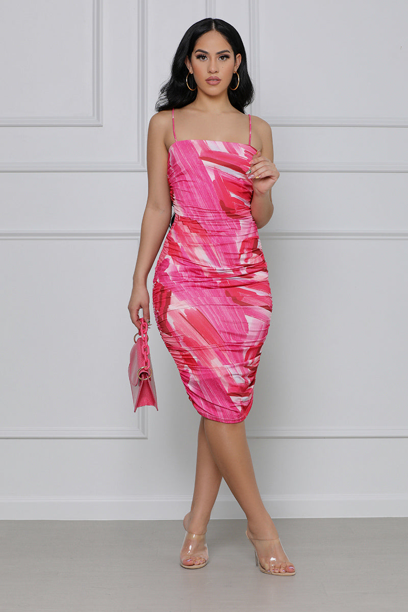 Pink Serenity Spaghetti Strap Ruched Dress (Pink)