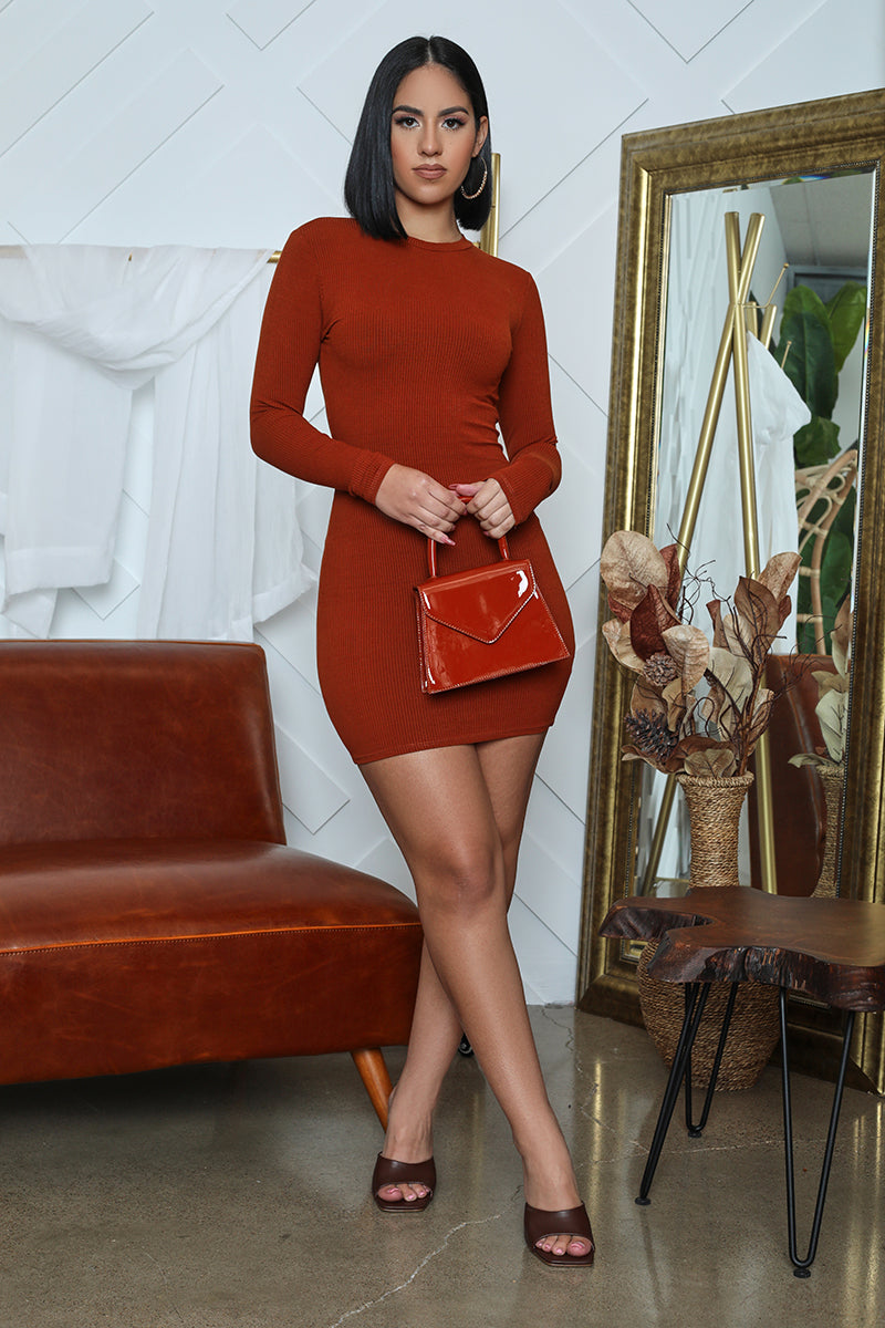 Ribbed Long Sleeve Bodycon (Rust)