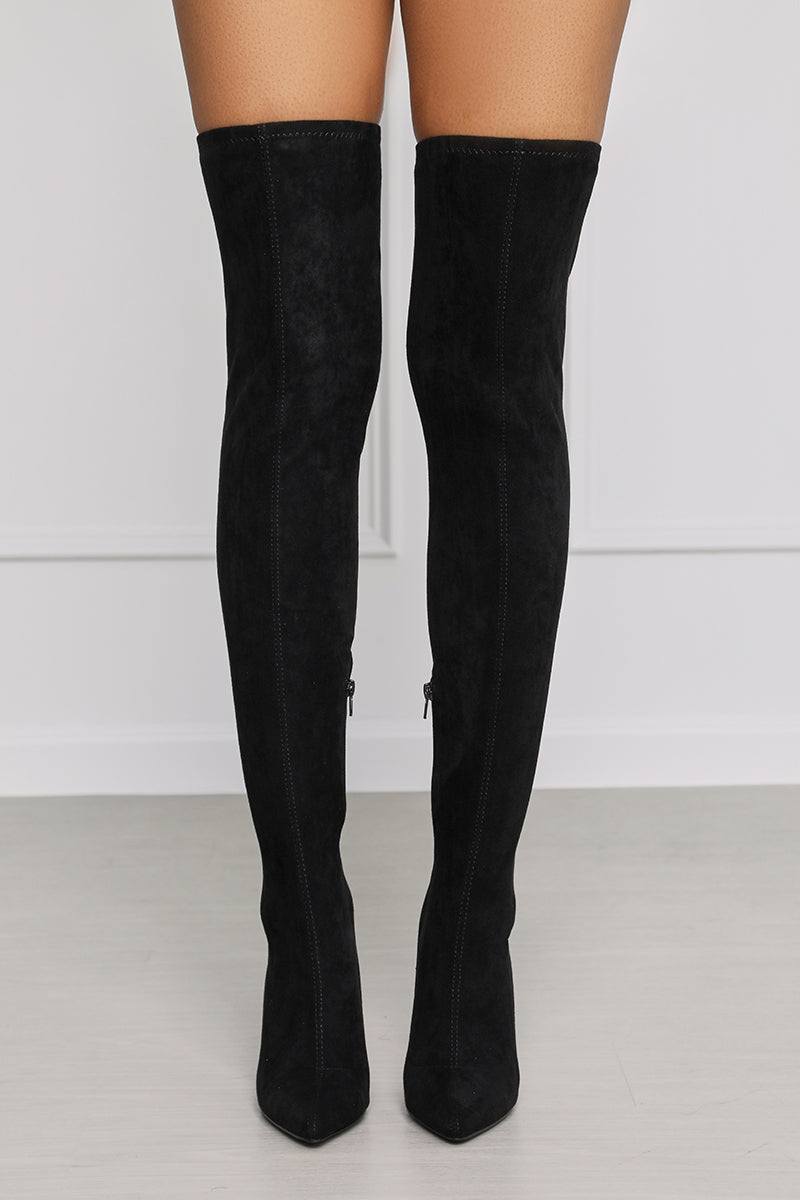 Lolly (Black) Thigh High Boot- FINAL SALE