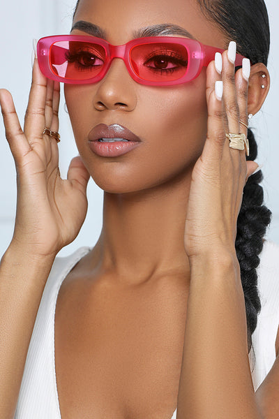 She's So Chic Retro Framed Sunglasses (Pink)