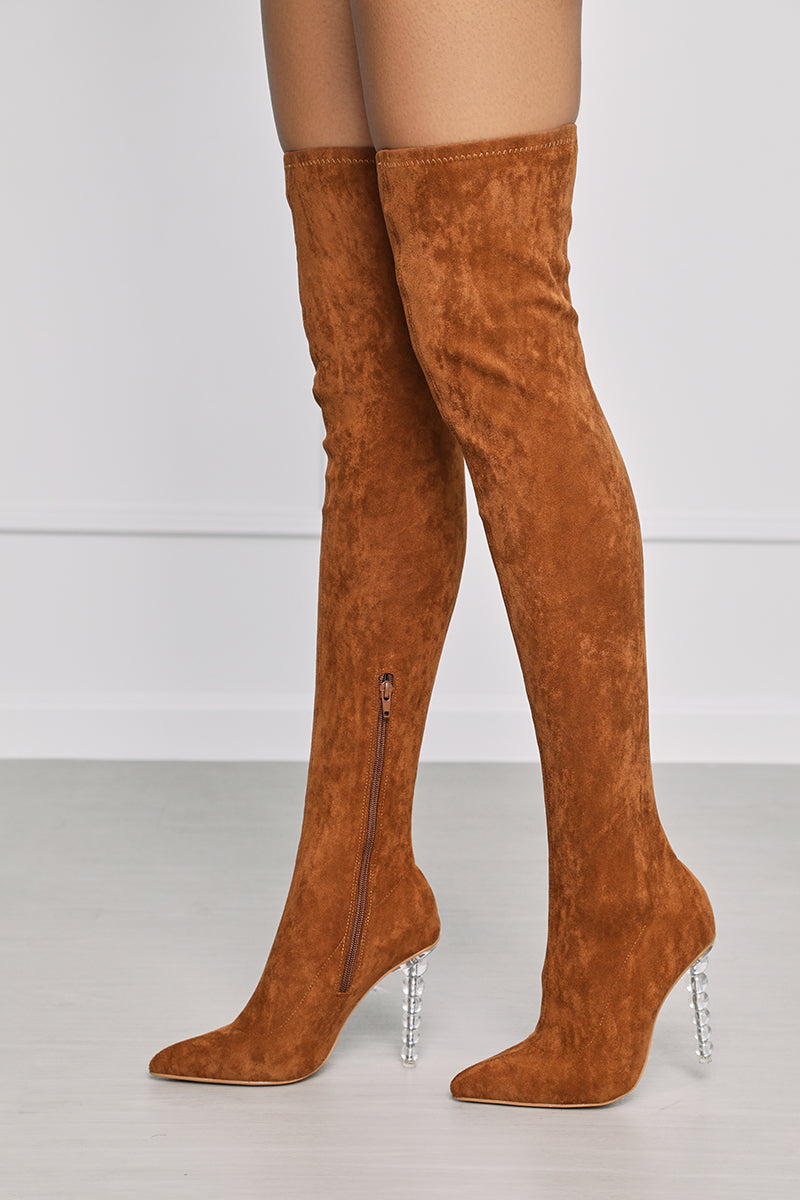 Lolly (Brown) Thigh High Boot- FINAL SALE