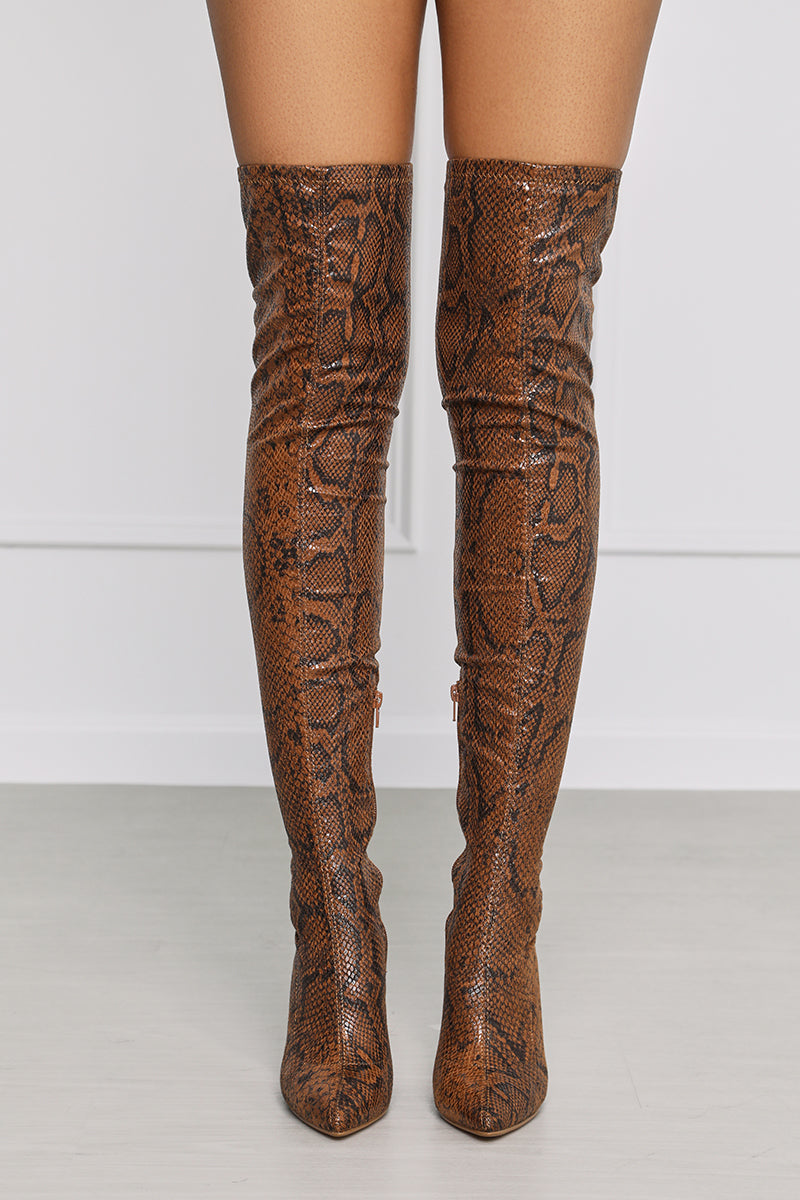 Veera (Brown Snake) Thigh High Boot