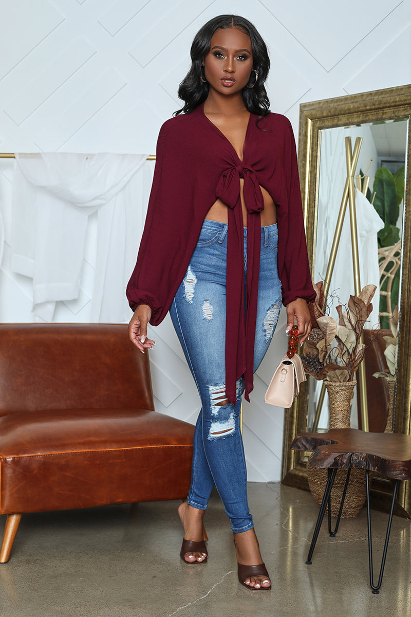 Self Tie Wrap Top (Wine)