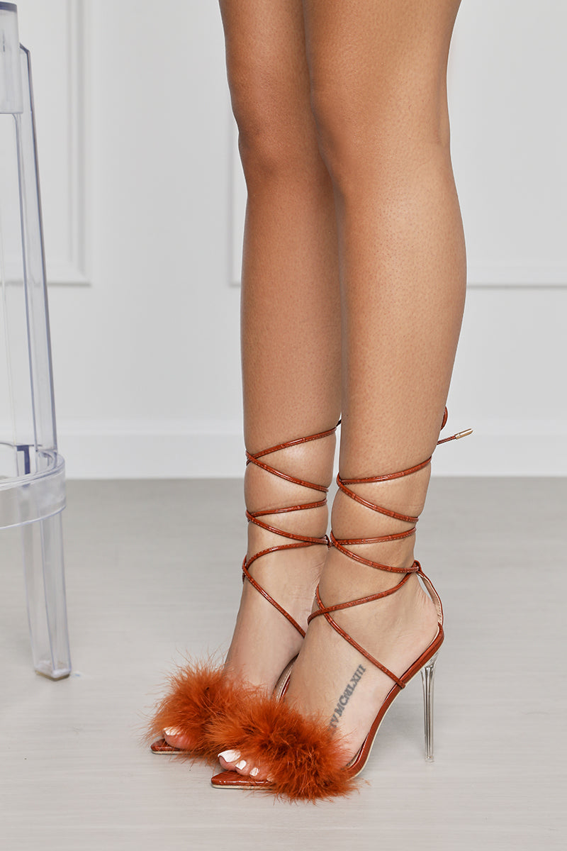 Viper Faux Feather Lace Up Heel (Brown)- FINAL SALE
