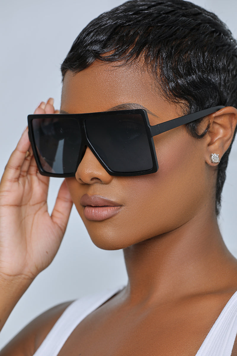 Oversized Square Tinted Sunglasses (Matte Black)