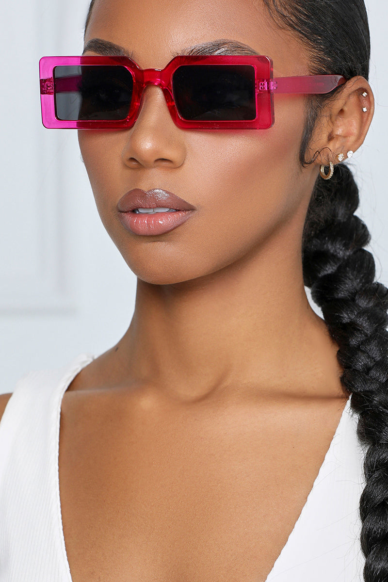 It's a Vibe Rectangular Sunglasses (Pink)