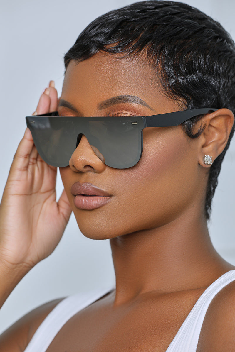 Tinted Shield Sunglasses (Grey Tint)