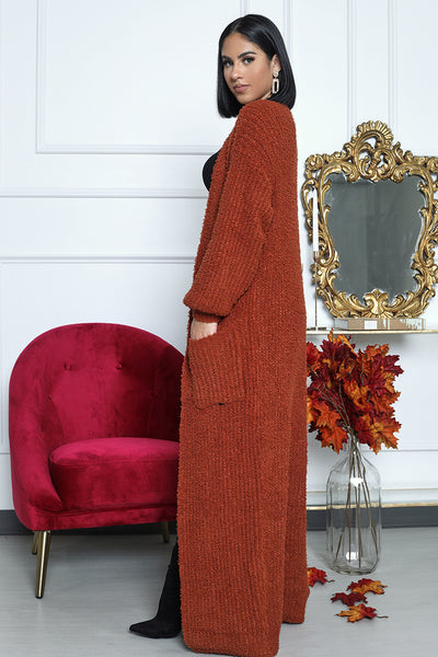Fuzzy Long Cardigan (Orange)