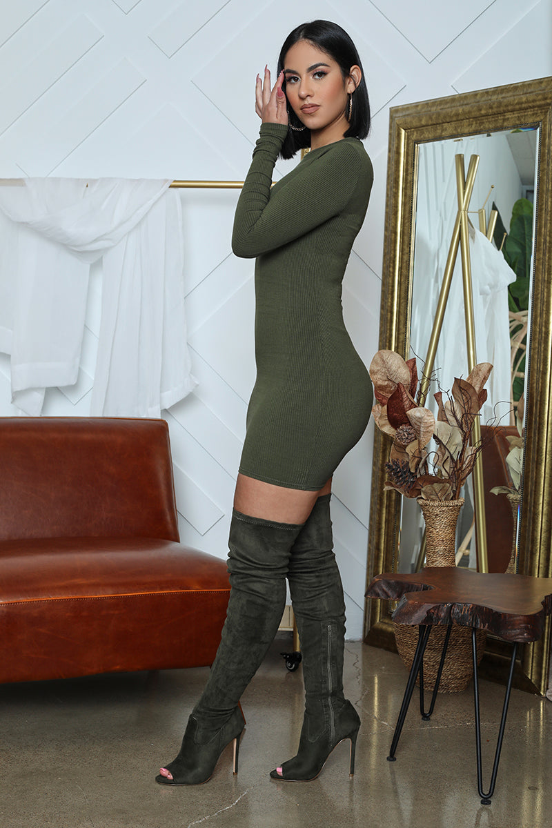 Ribbed Long Sleeve Bodycon (Olive)