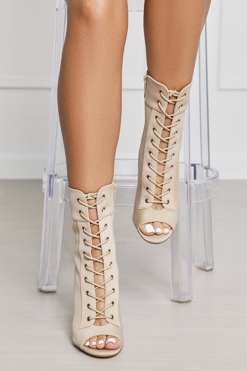 Filter Lace Up Booties (Taupe)- FINAL SALE
