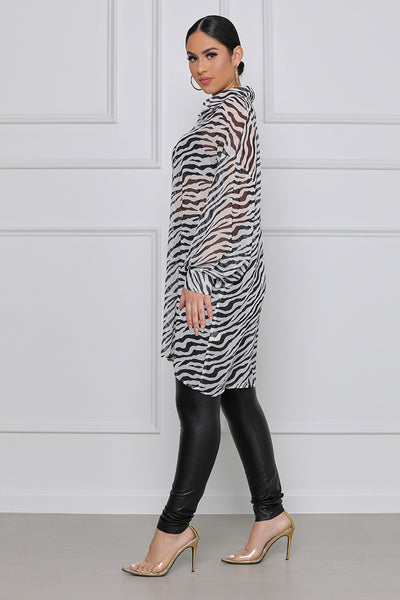 On the Run Oversized Zebra Button Up Long Sleeve Shirt