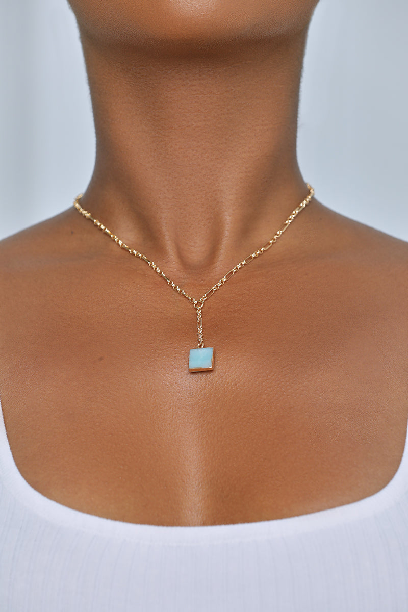 Blue Stone Drop Necklace
