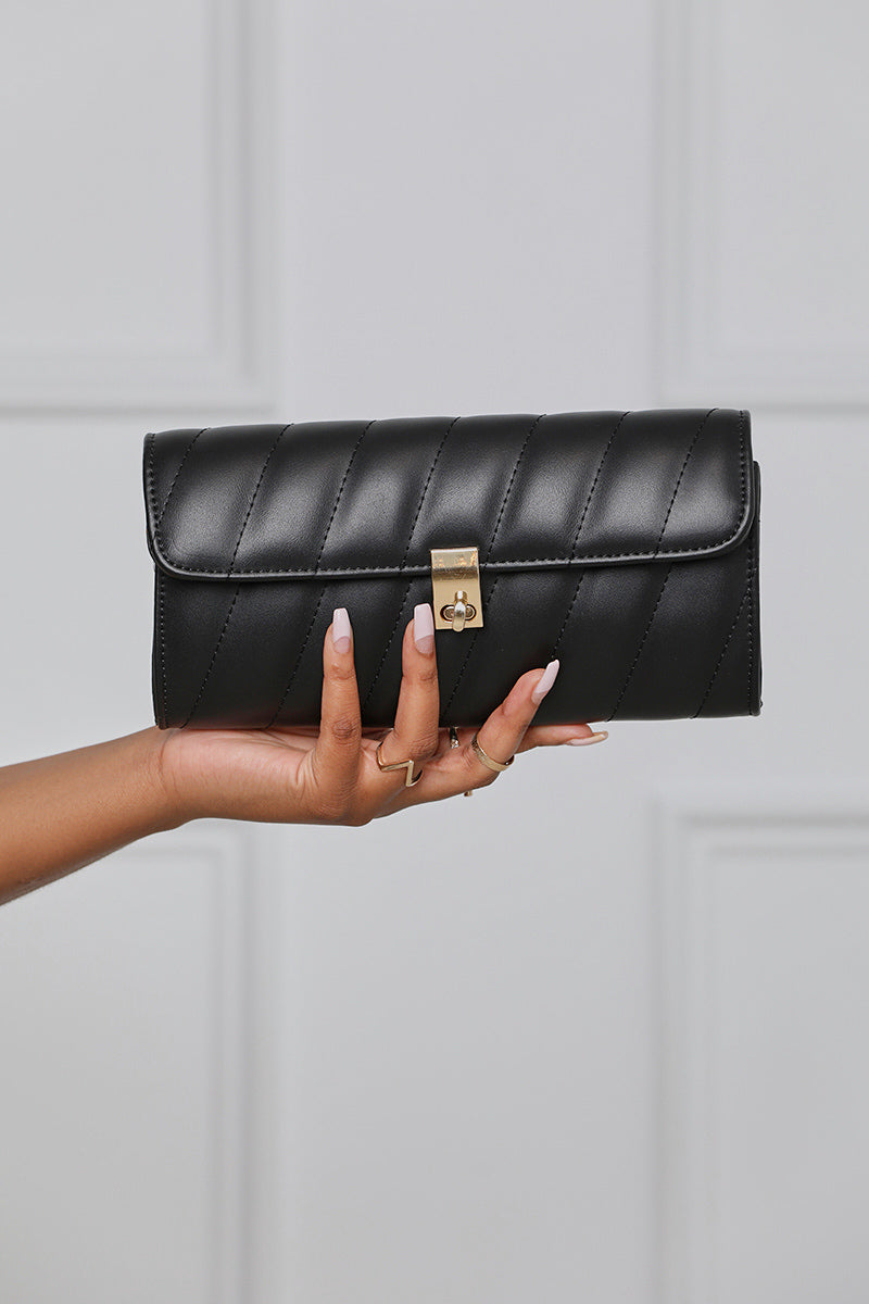 Quilted Faux Leather Clutch
