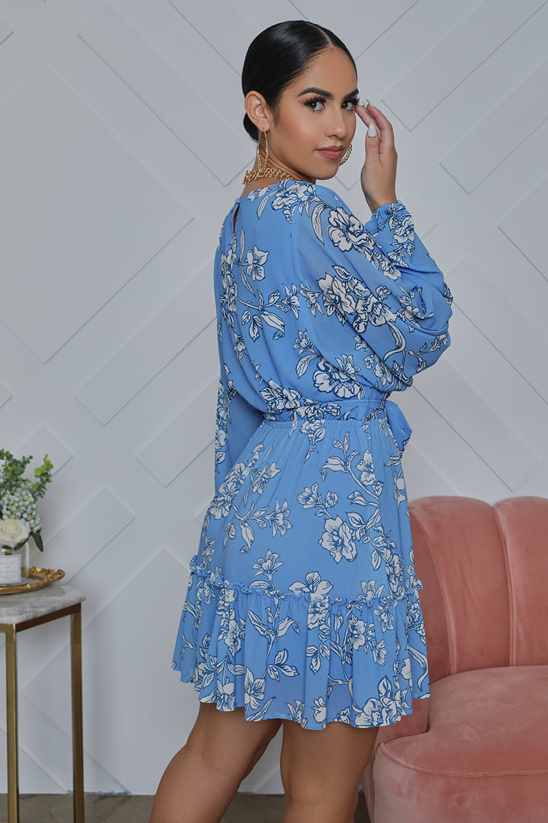 Floral Long Sleeve Babydoll Dress (Blue)