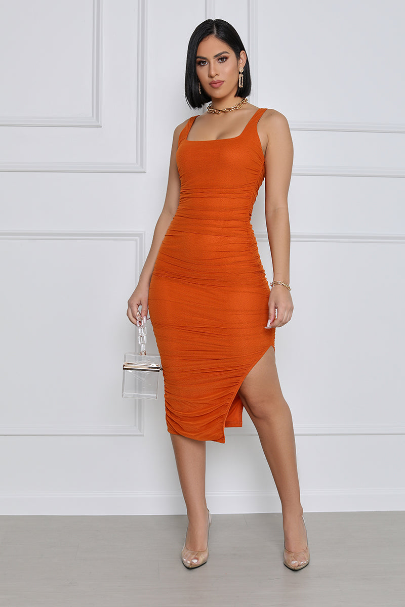 In your Dreams Ruched Midi Dress (Orange)