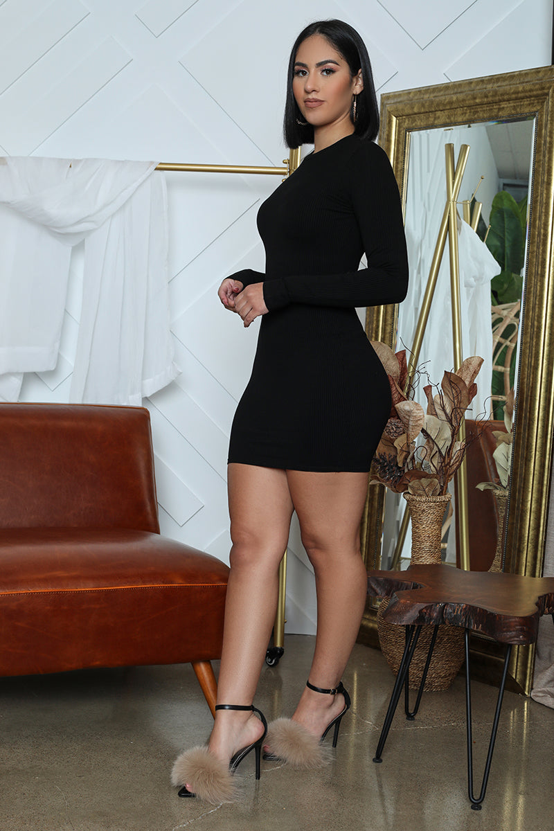 Ribbed Long Sleeve Bodycon (Black)