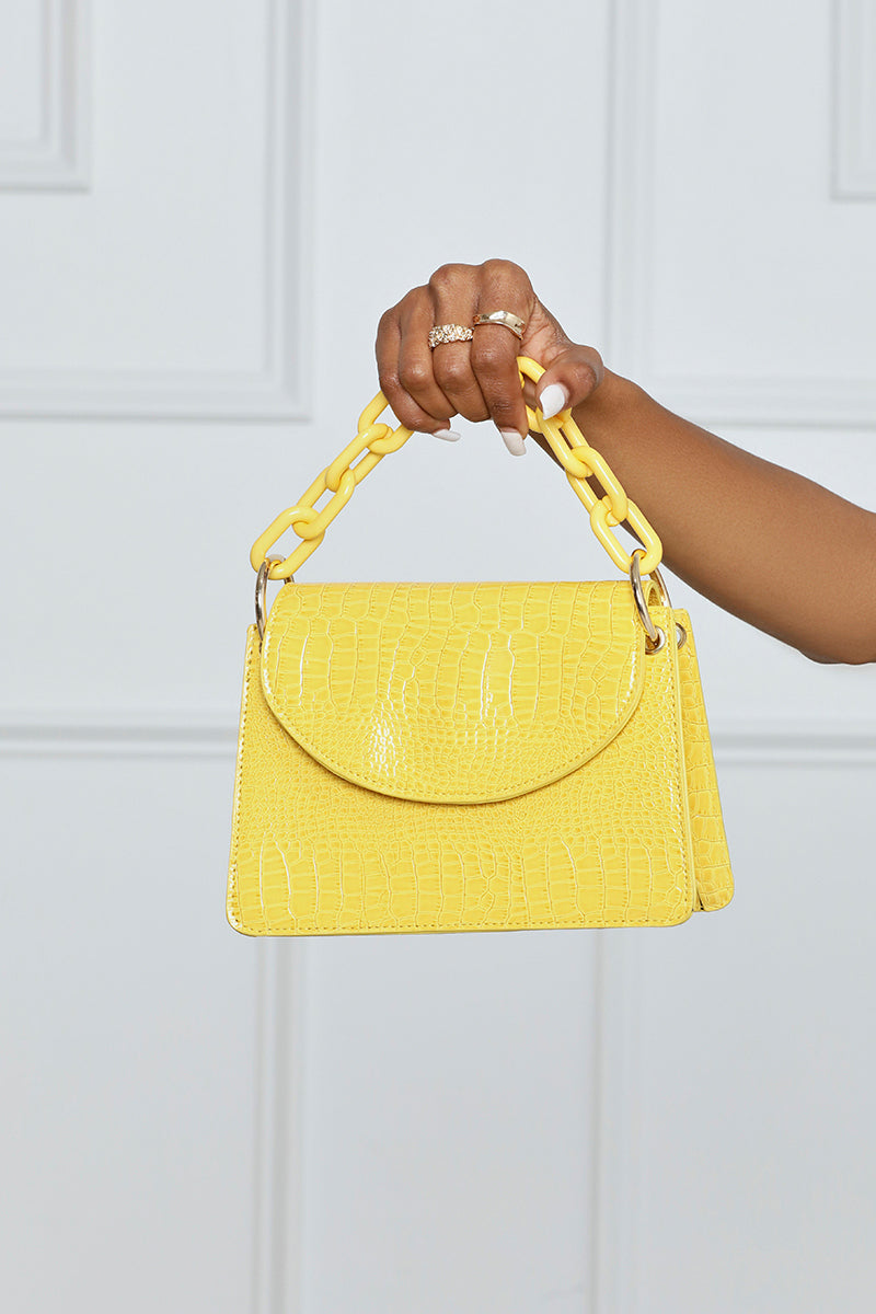 Give It Your All Faux Croc Chain Mini Bag w/ Chain Handle (Yellow)- FINAL SALE