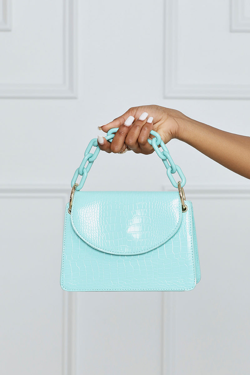 Give It Your All Croc Chain Mini Bag w/ Chain Handle (Light Blue)