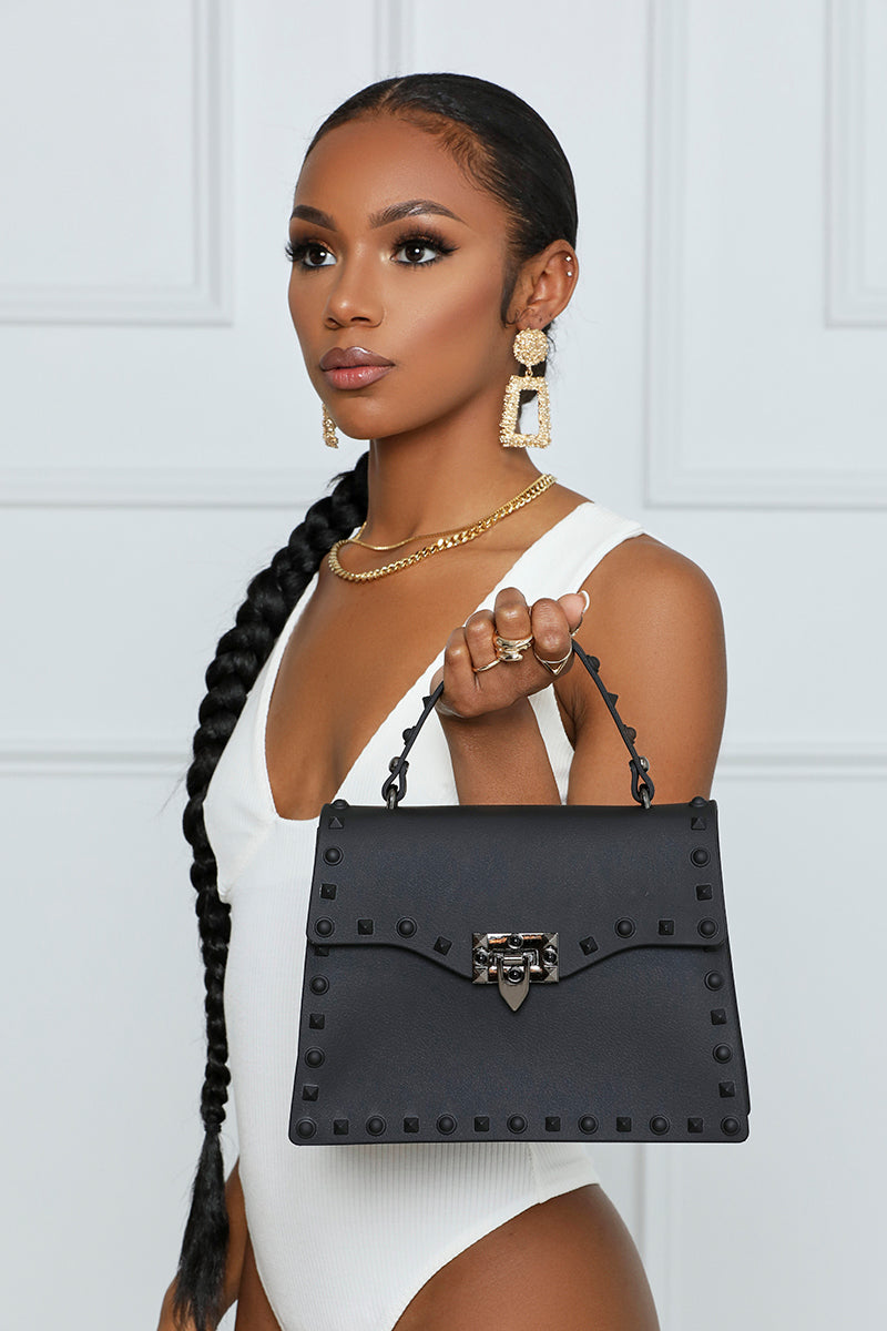 So Ambitious Studded Handbag (Black)