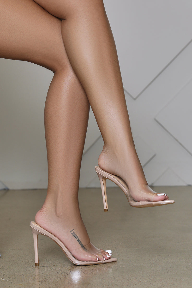 Echo Transparent PVC Pointed Toe Mule (Taupe)