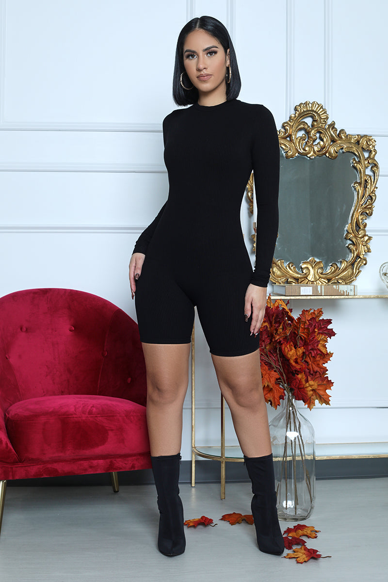 Ribbed Fitted Romper (Black)