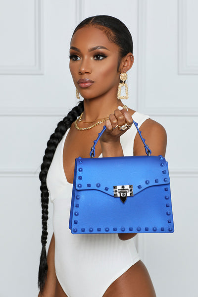 So Ambitious Studded Handbag (Pearlescent Blue)