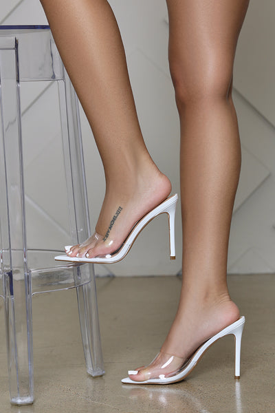 Echo Transparent PVC Pointed Toe Mule (White)