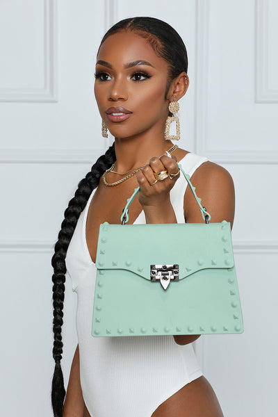 So Ambitious Studded Handbag (Sage)