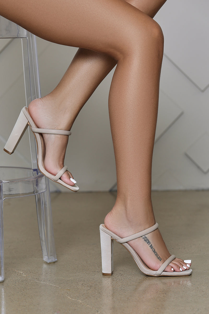 Rodeo Double Strap Block Heel (Taupe)
