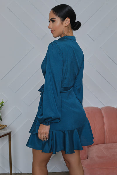 Long Sleeve Mini Wrap Dress (Teal)