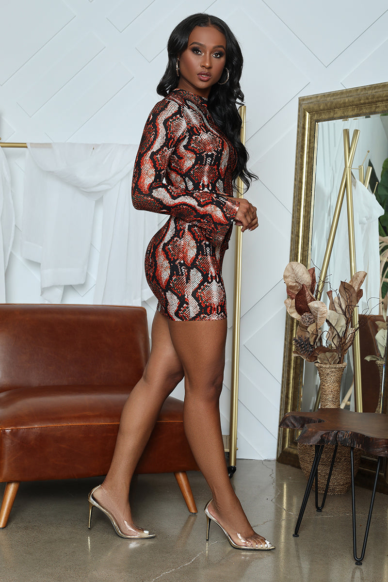Snake Print Bodycon (Red Snake)