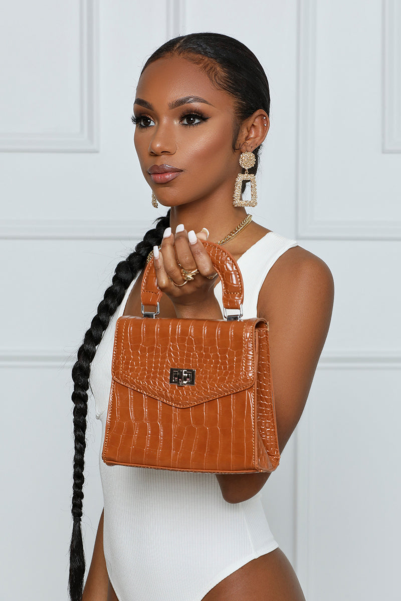 I'm The CEO Faux Croc Mini Bag (Camel)- FINAL SALE