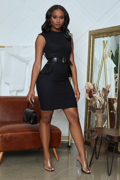 Peplum Belt Bodycon Midi Dress (Black)- FINAL SALE