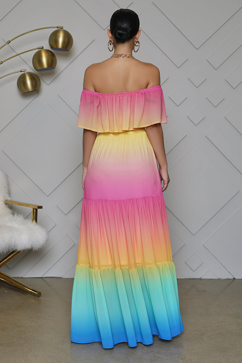 Ombre Off The Shoulder Tiered Maxi Dress