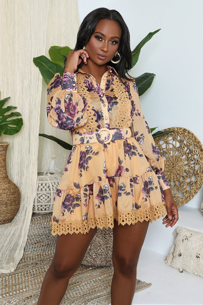 Floral Button Front Babydoll Dress (Mustard)