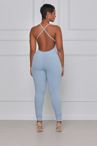 Crossing The Line Ribbed Spaghetti Strap Jumpsuit  (Blue)
