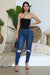 Frayed Hem High Waist Straight Leg Jean (Dark Wash)- FINAL SALE