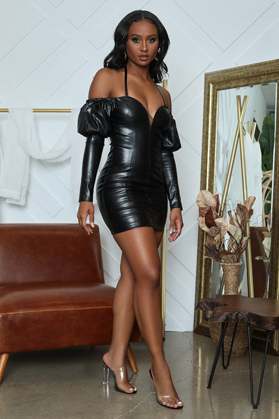 Faux Leather Sweetheart Bodycon (Black)- FINAL SALE