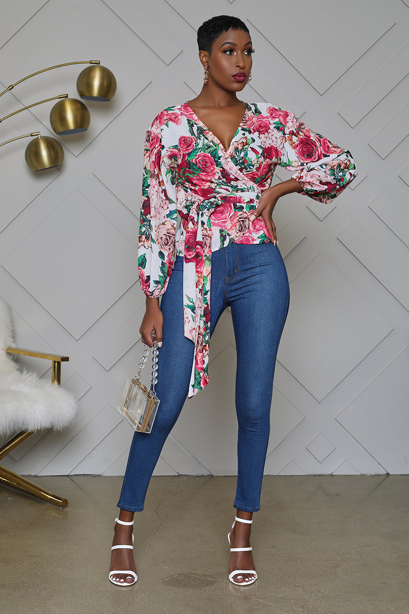 Floral Print Surplice Wrap Top