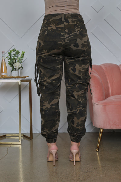 Camouflage Cargo Jogger Pants (Olive)- FINAL SALE