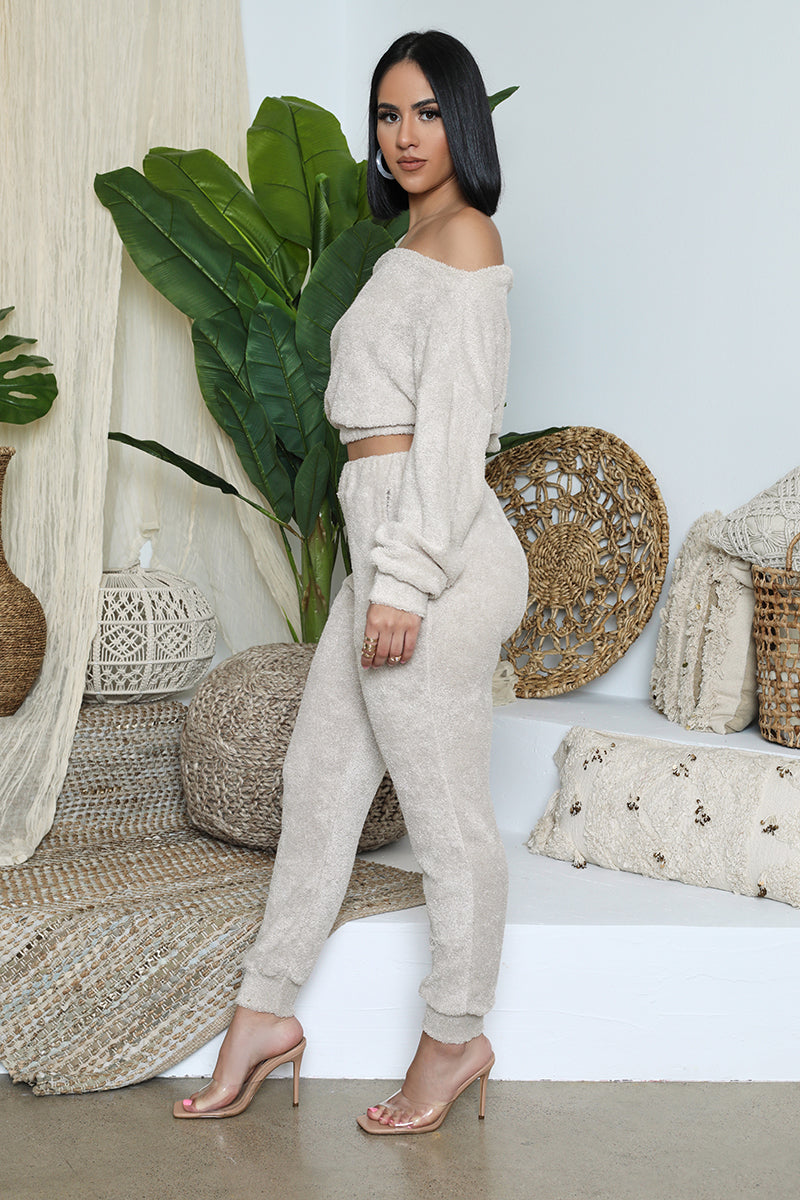 Teddy Cropped Jogger Set (Sand)