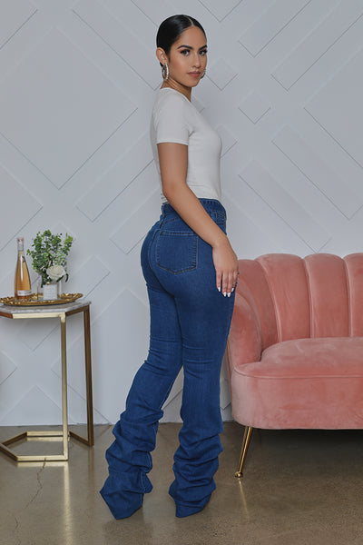 High Waist Stacked Jeans (Medium Wash)