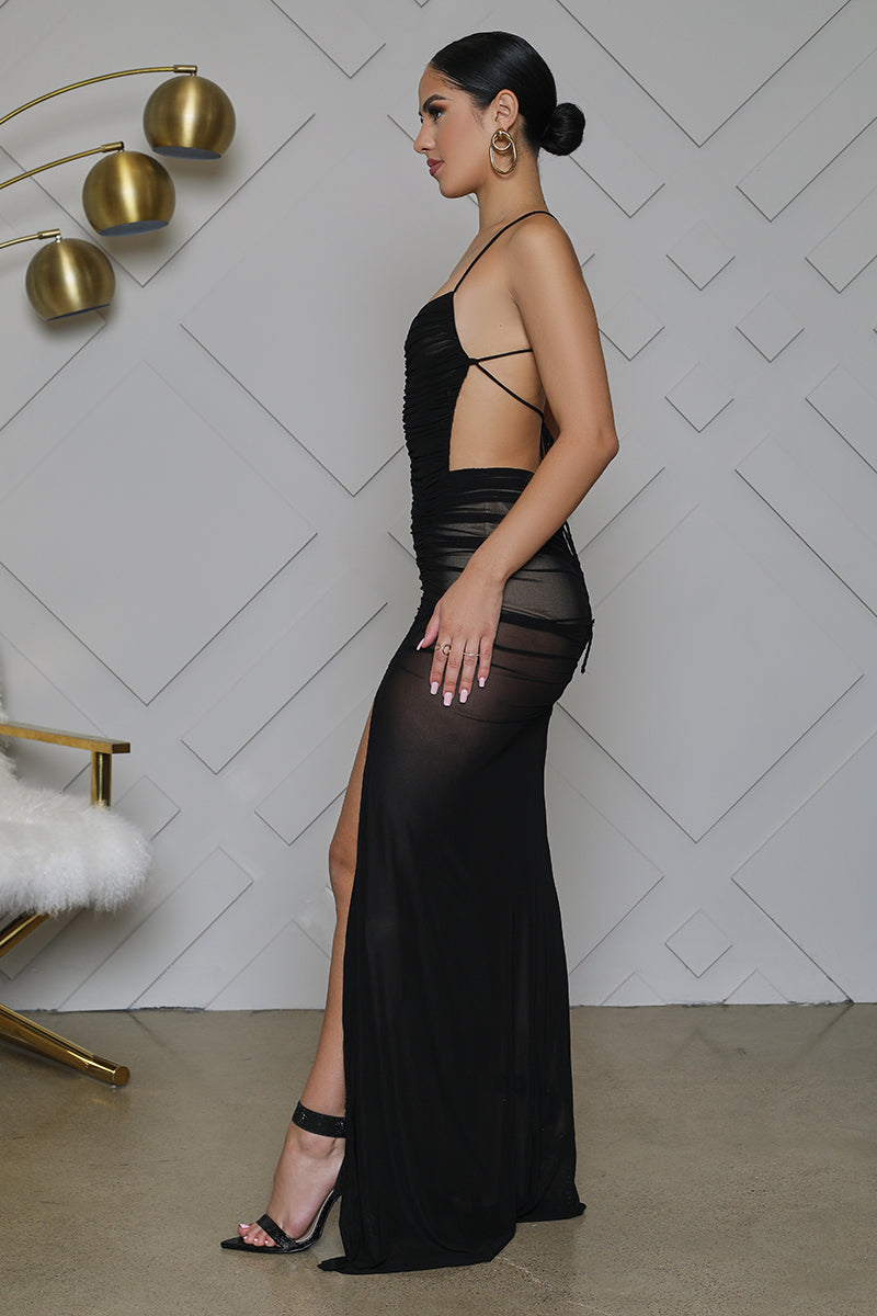 High Slit Black Sheer Dress