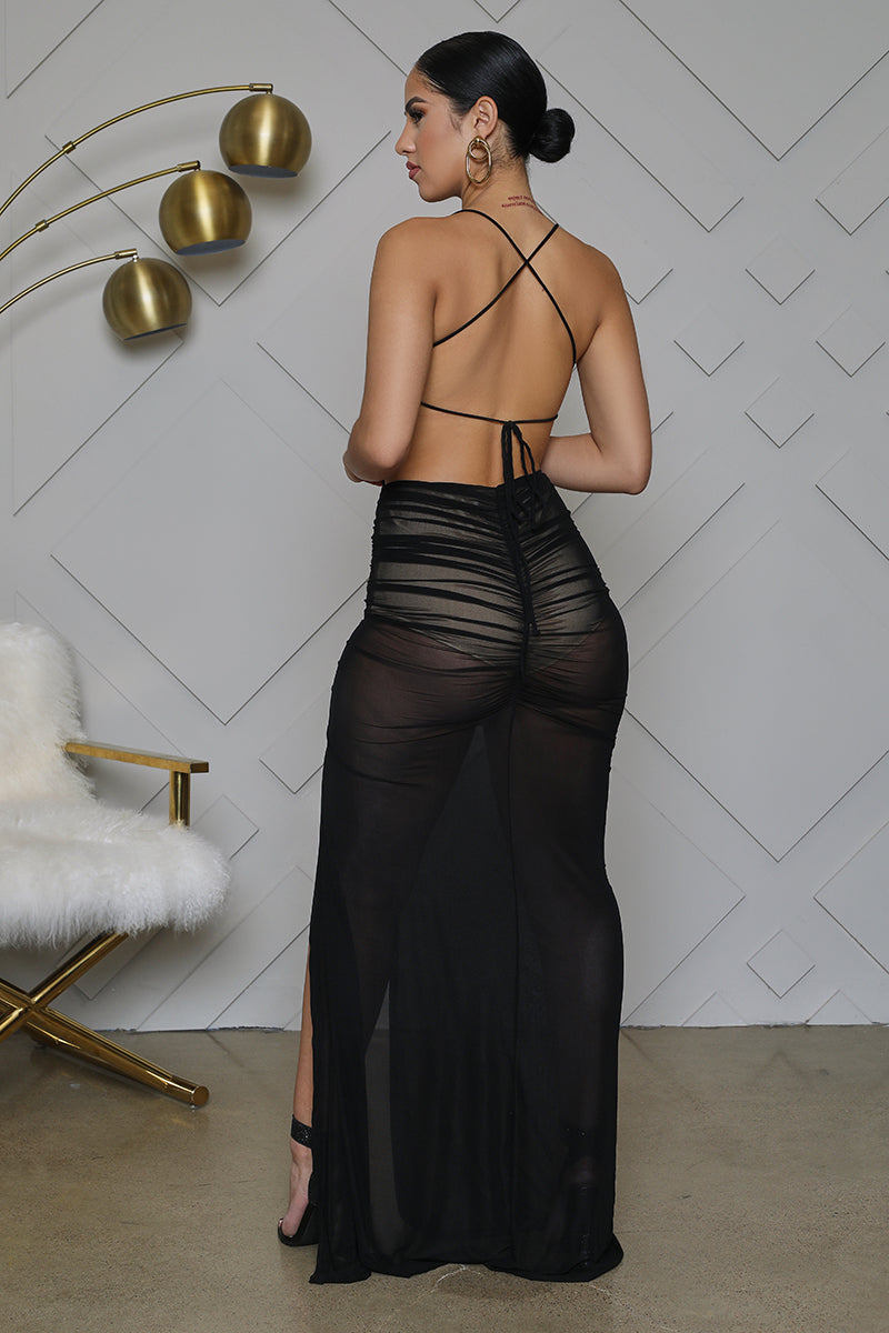 High Slit Black Sheer Dress- FINAL SALE