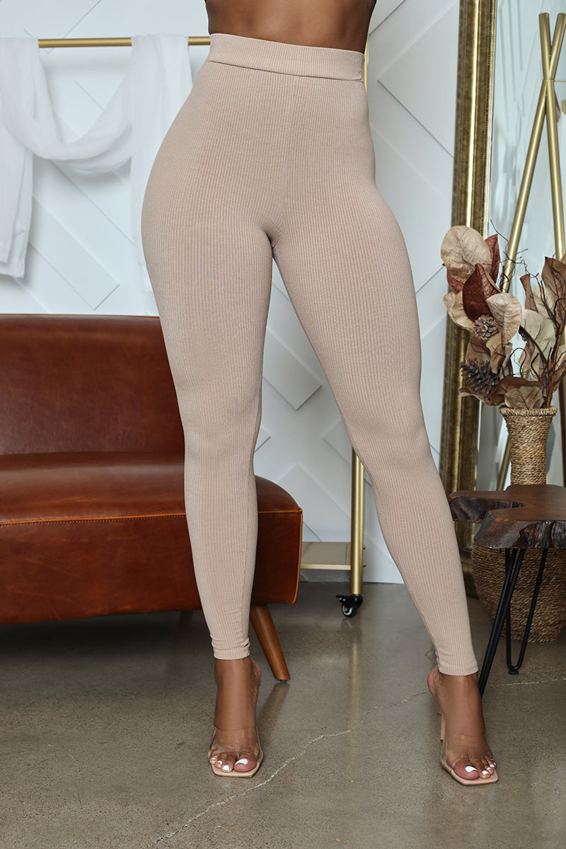 Ribbed High Waist Legging (Nude)