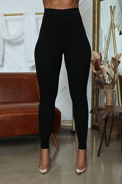 Ribbed High Waist Legging (Black)