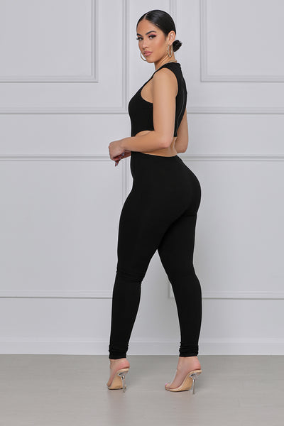 Flexin' On You Cut Out Ribbed Jumpsuit (Black)
