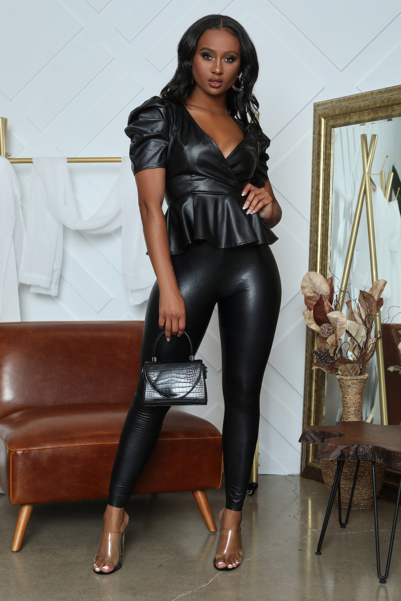 Faux Leather Peplum Top (Black)