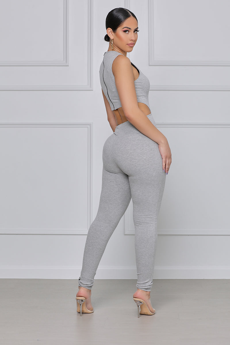 Flexin' On You Cut Out Ribbed Jumpsuit (Grey)